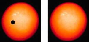 Il metodo dei transiti, che è quello usato da Kepler è basato sulla lievissima variazione di luce di una stella dovuta al transito di un pianeta davanti a questa. Per un pianeta come la Terra, il transito davanti a una stella simile al Sole causa una variazione di luminosità pari a soltanto 84 parti per milione. Invece il transito di un pianeta come Giove provoca l'affievolimento della luce della stella di circa l'1-2%. La figura mostra in scala sia un transito di Giove attraverso l'immagine del nostro sole sulla sinistra e un transito terrestre sulla destra. L'effetto della Terra è paragonabile a quello di una pulce che passa sui fari di un'auto visto da diversi chilometri di distanza.Image credit: NASA