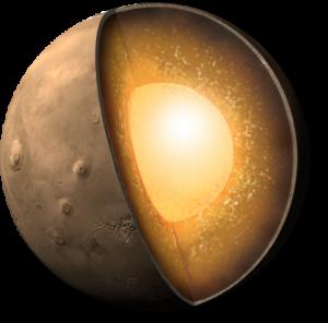 Rappresentazione artistica dell'interno di Marte. Credit: NASA/JPL