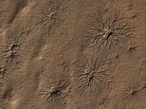 Questa immagine dalla High Resolution Imaging Science Experiment (HiRISE) montata sul Mars Reconnaissance Orbiter mostra il risultato dei geysers di polvere descriti nell'articolo.  di una zona 1,2 km di larghezza. Credit: NASA/JPL-Caltech/University of Arizona