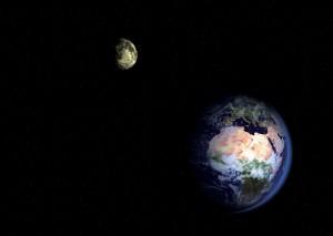 Se visto dallo spazio il sistema Terra-Luna pare decisamente un pianeta doppio. Credit: Illustration by AOES Medialab, ESA 2002