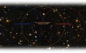 Mentre l'osservatorepuò osservare una buona parte degli orizzonti cosmologici A e B, da questi solo un piccola parte dell'altro e concesso di vedere. Credit: Il Poliedrico