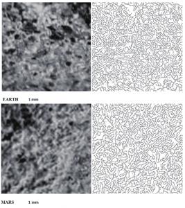 Terra vs. Marte: Ecco una delle immagini presenti sul Lavoro pubblicato su IJASS, 2014. La somiglianza delle strutture evidenziate sulla Terra (microbialiti:colonie di microrganismi unicellulari) e su Marte (fotografate da Opportunity sul pianeta rosso) è davvero notevole (vedi i contorni automatici ottenuti dal sistema computerizzato, sulla destra) . La successiva analisi automatica di immagine ha confermato con alta significatività statistica l'identità delle immagini.