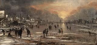 """Figura 1 - """"Lo sport su un fiume ghiacciato"""" di Aert van der Neer Durante il Minimo di Maunder, diventò alquanto popolare pattinare sui fiumi gelati, come in questo dipinto. Il fiume è il Tamigi.  (Credit:l Metropolitan Museum of Art)"""