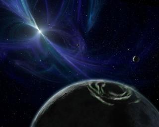 Immagine artistica della pulsar PSR B1257+12 con i pianeti. Credit: Wikipedia