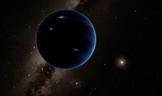 Rappresentazione artistica del Pianeta Nove. Si suppone che il pianeta sia piuttosto simile ad Urano e Nettuno. Una ipotetica tempesta di fulmini illumina il lato notturno. Credit: Caltech / R. Hurt (IPAC)