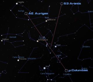AE aurigae -> 40° μ Columbae -> 25° 53 Arietis -> 43° Queste sono le distanze apparenti sulla volta celeste delle tre stelle giganti azzurre dal loro punto d'origine all'interno di M 42 dopo 2,7 milioni di anni. Credit: Il Poliedrico