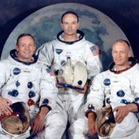 L'equipaggio della missione Apollo 11: dalla sinistra: Michael Collins, Neil Armstrong e Buzz Aldrin (nato Edwin Eugene)